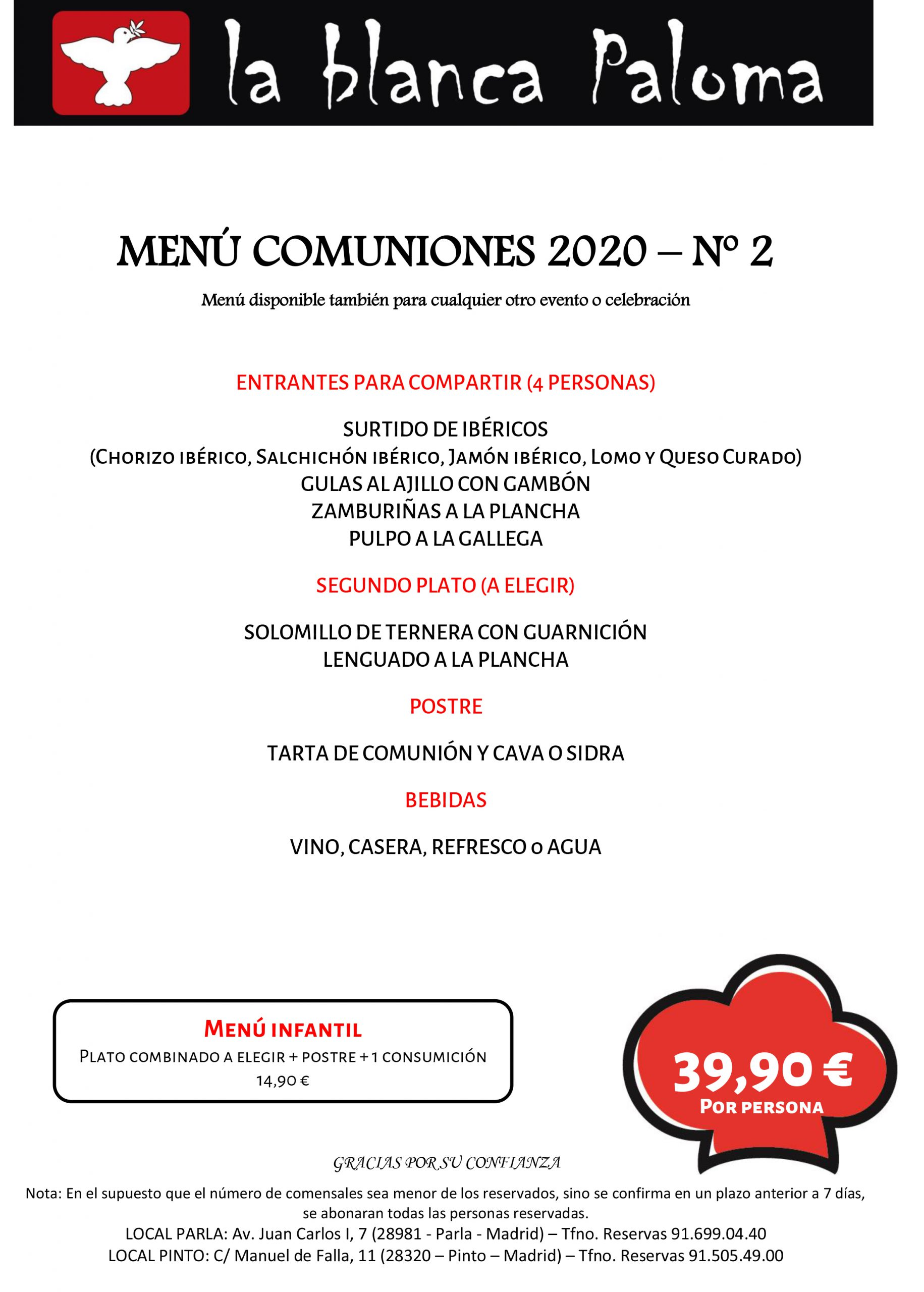 MENU COMUNIONES 2020
